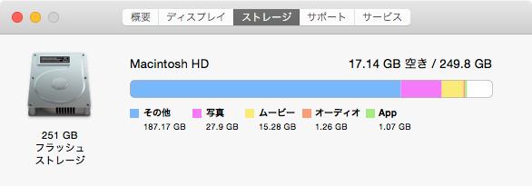 MacBookAirの容量がパンパン