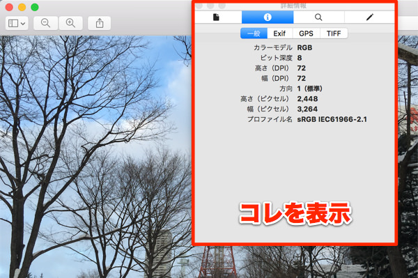 Macプレビューアプリのインスペクタがこれ
