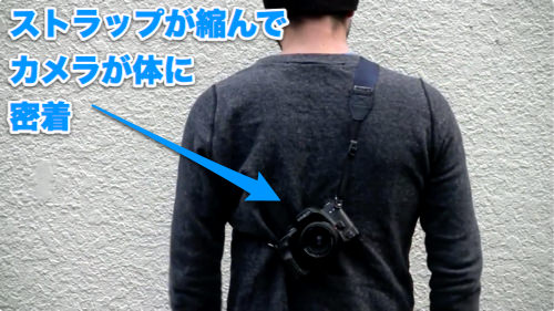 ストラップが短くなってカメラを体に固定できる