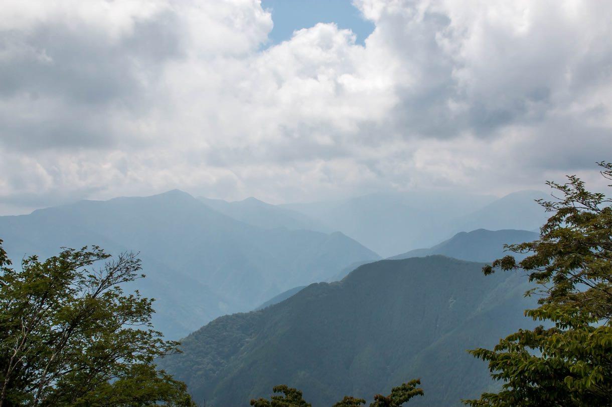 雲が多い川苔山の山頂