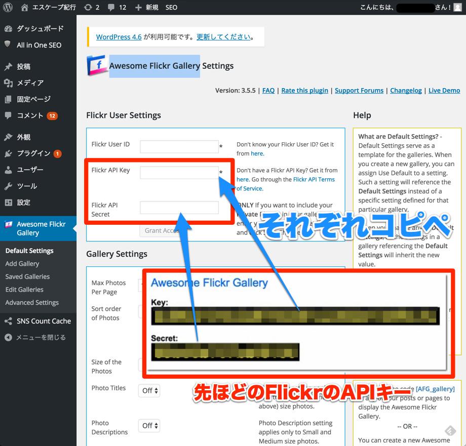 FlickrのAPIキーをコピペする