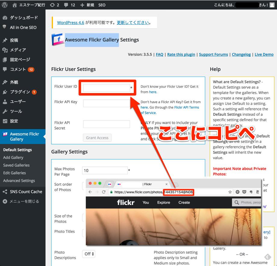 FlickrユーザーIDをコピペ