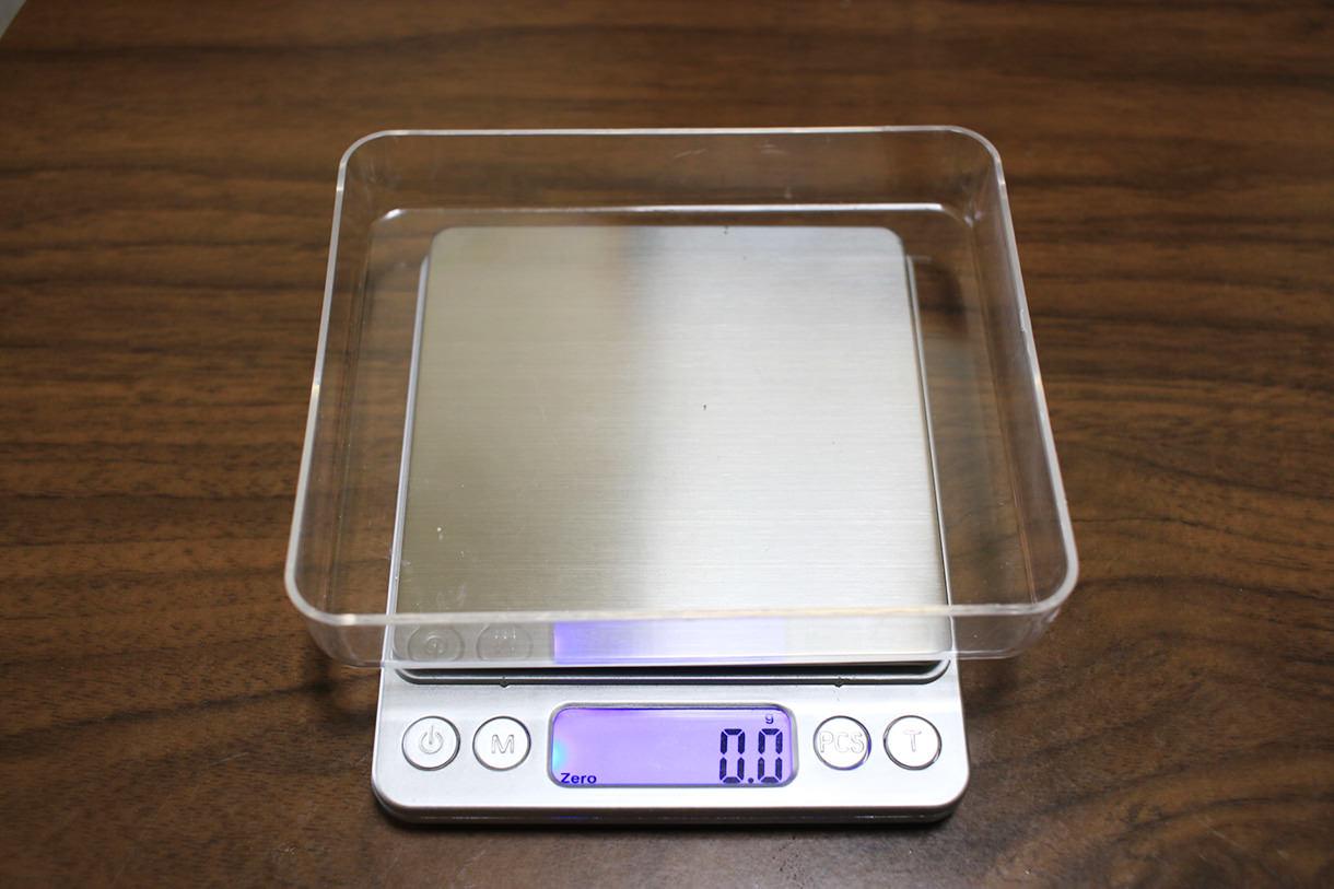 風袋引き機能で袋の重さを引いて計測可能