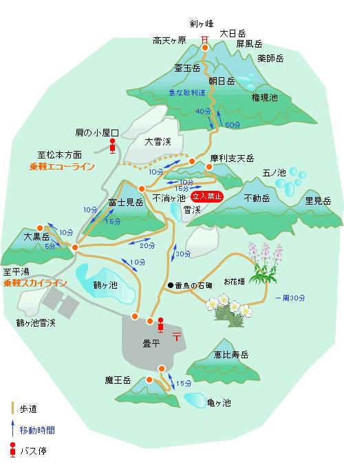 畳平周辺の地図