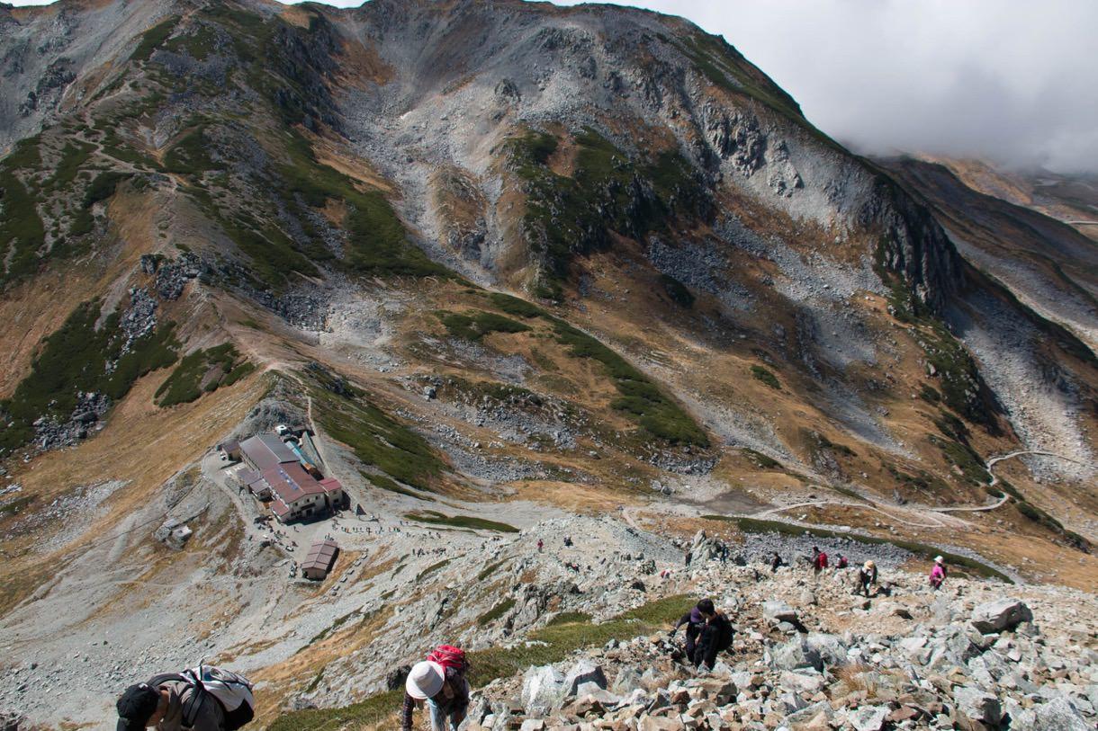 岩場から振り返る一の越山荘と尾根