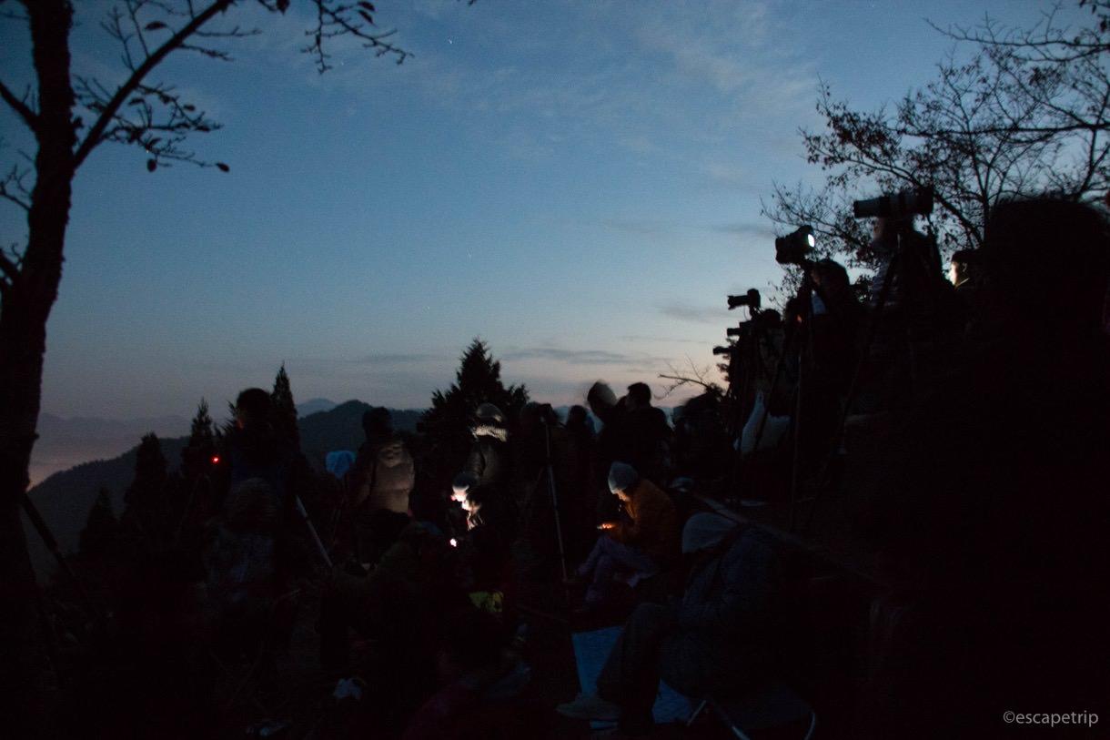 立雲峡の夜明け