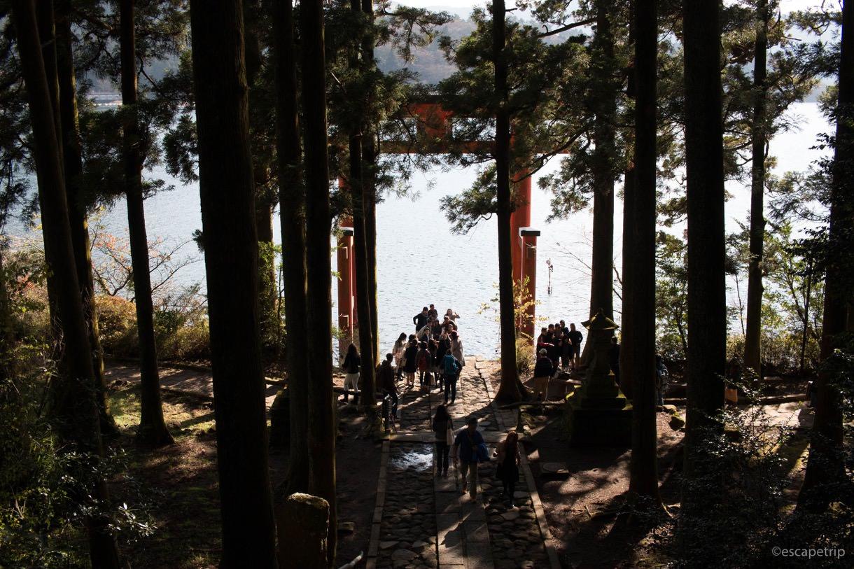 芦ノ湖に浮かぶ鳥居の裏側