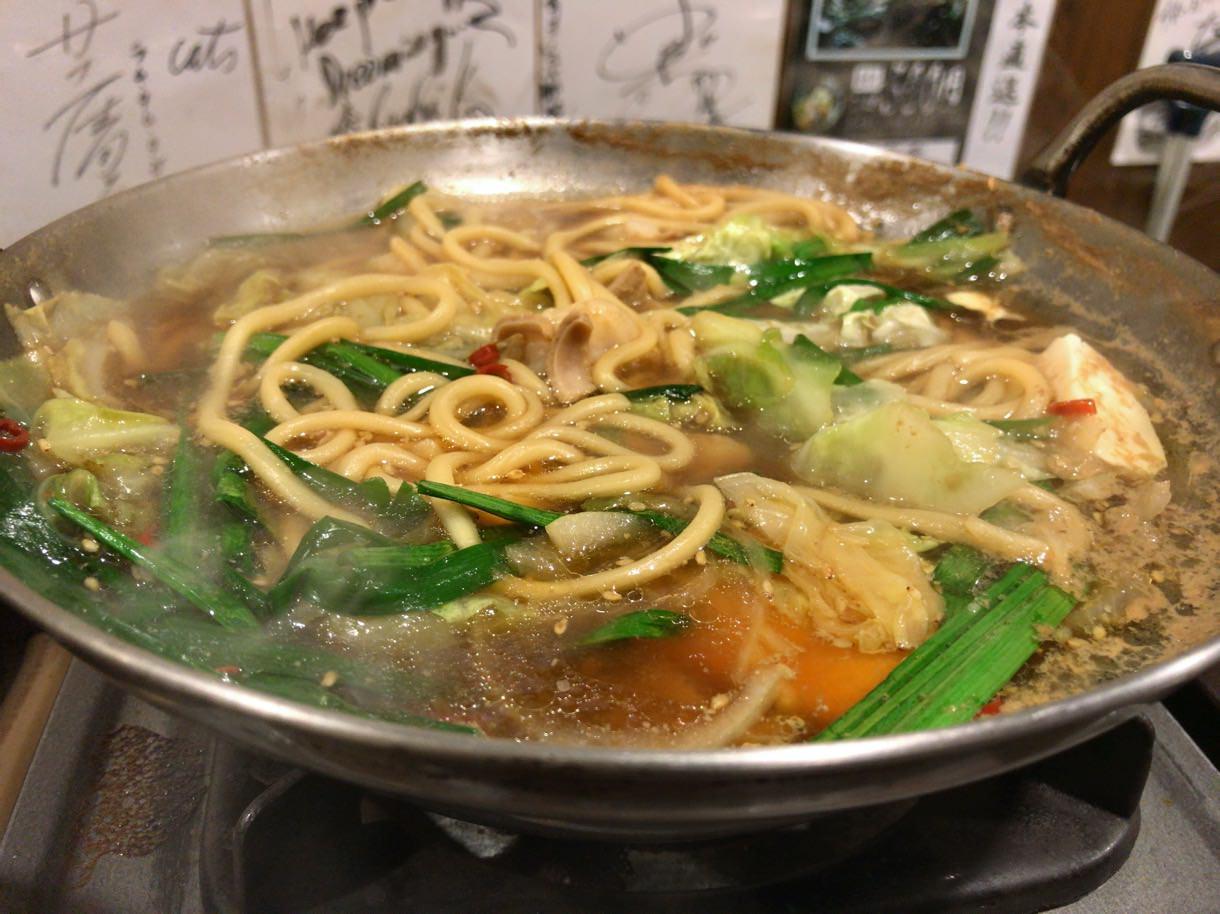 元祖博多麺もつ屋のもつ鍋食べごろ
