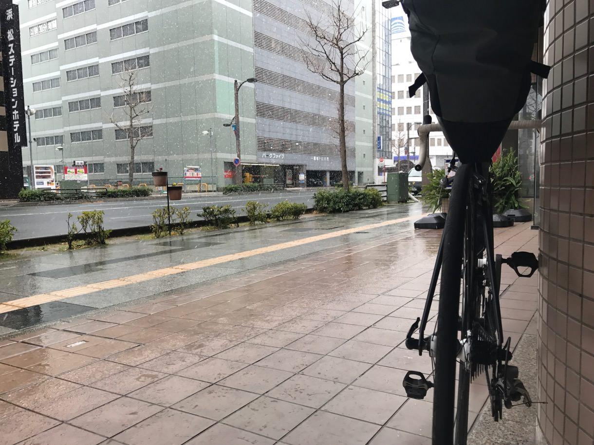 浜松の雪と自転車