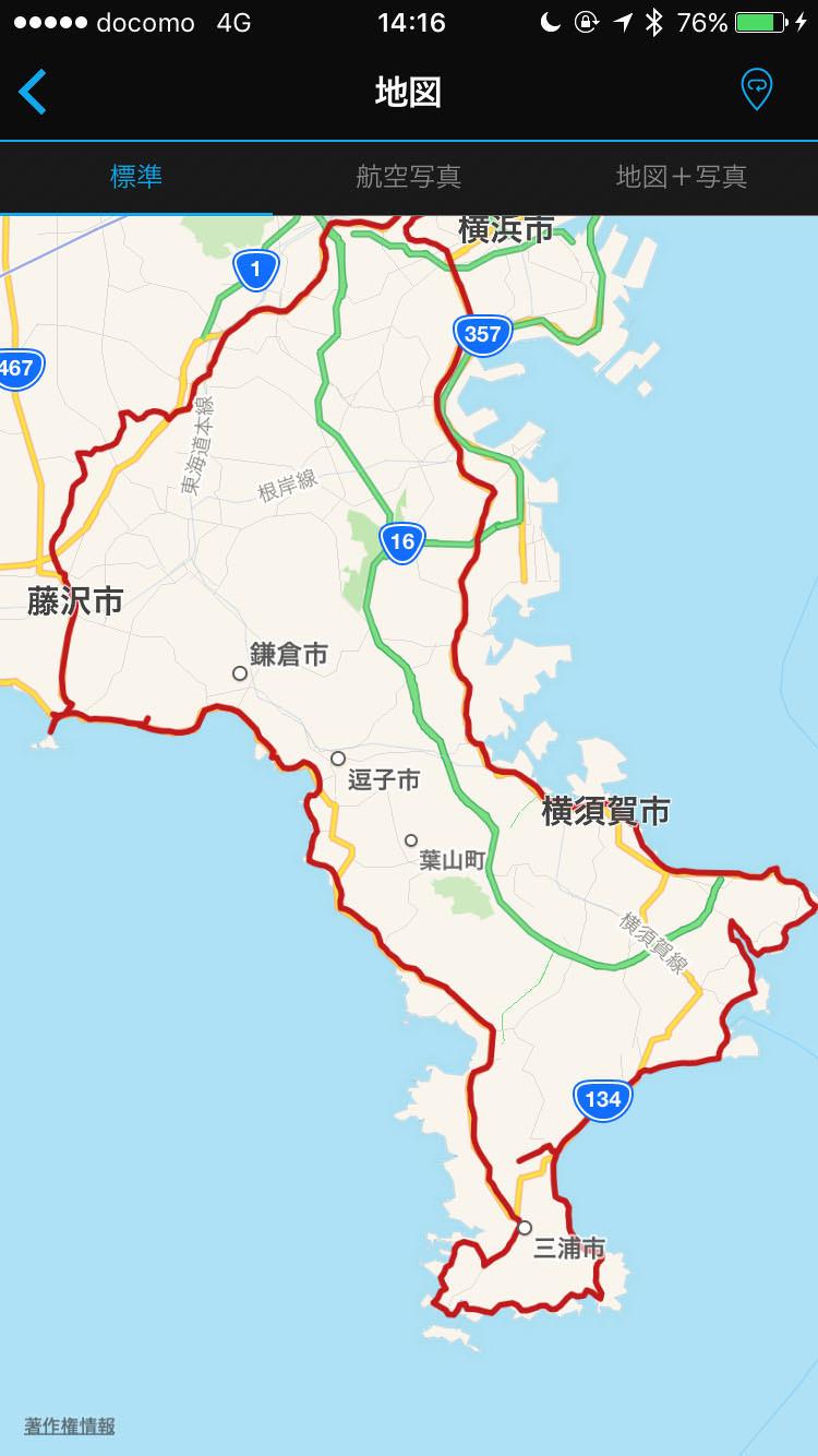 三浦半島一周ライドのルート記録