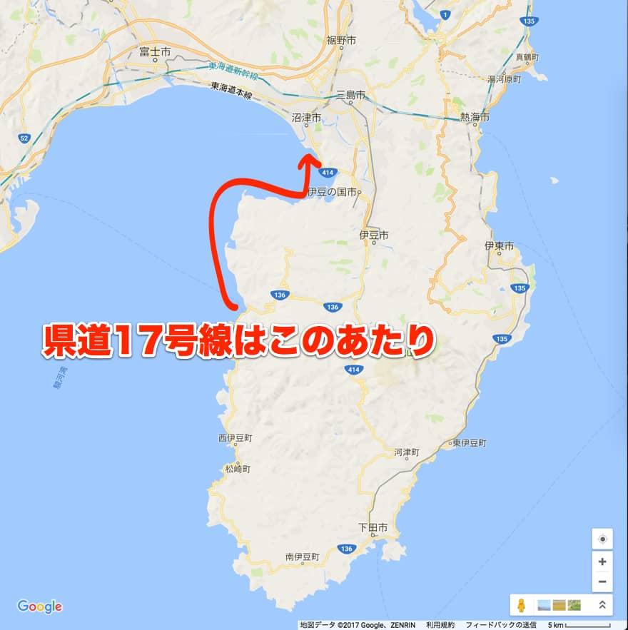 静岡県道17号線の地図