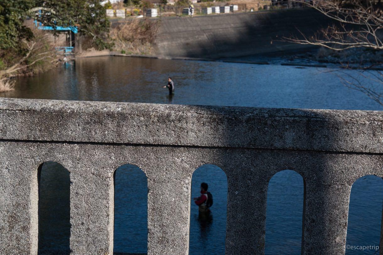 河津川と釣り人