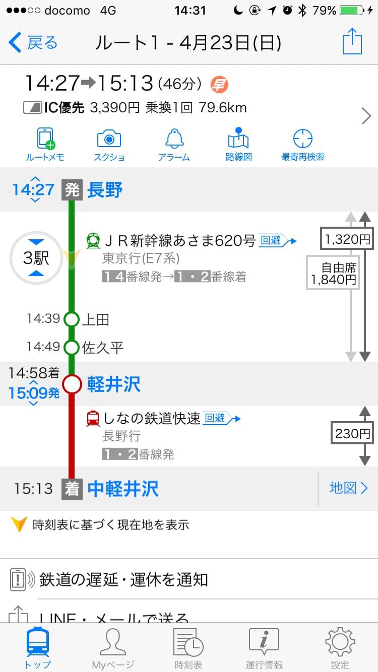 長野駅から中軽井沢駅への乗換