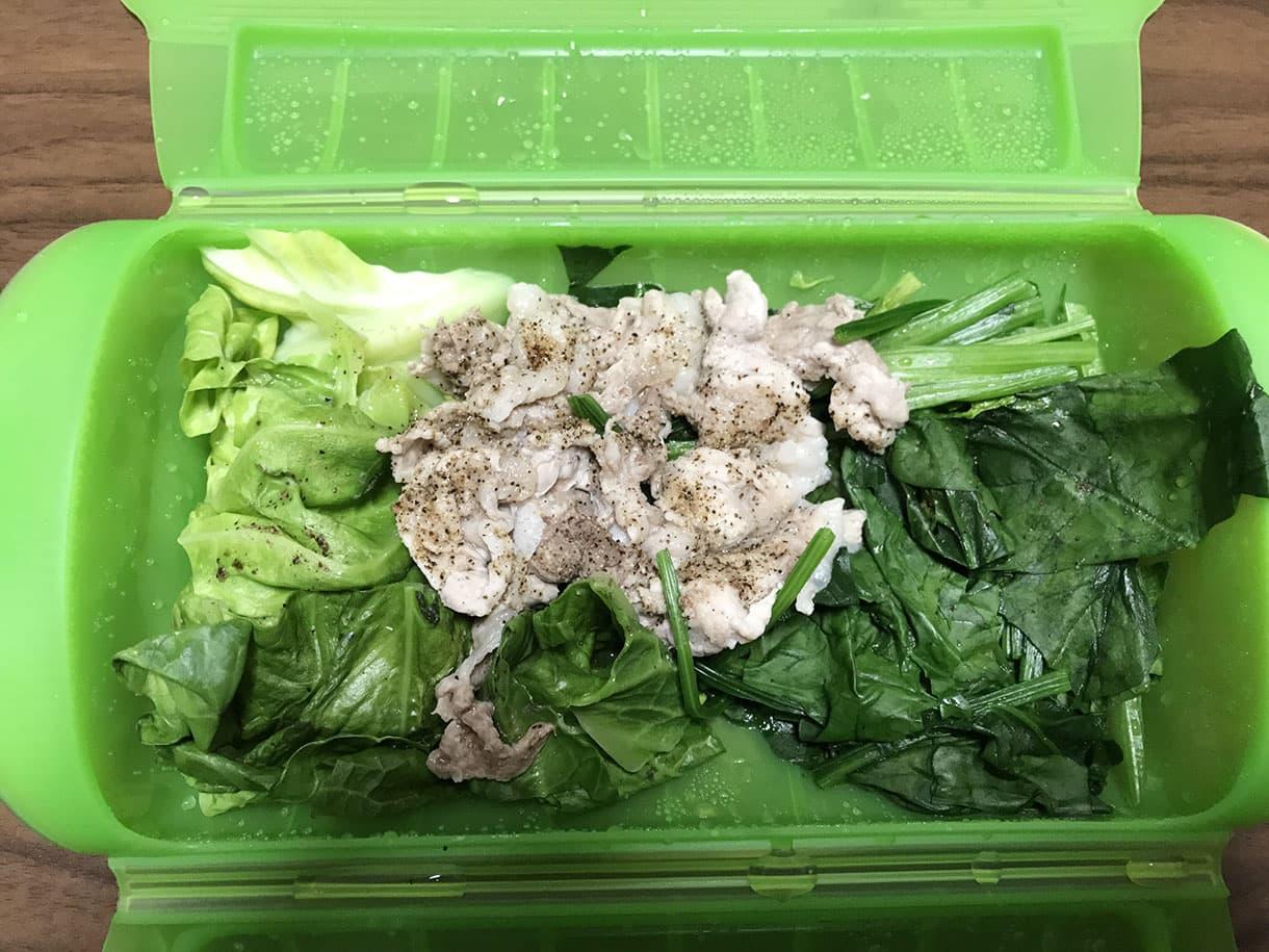 豚肉と野菜の加熱後
