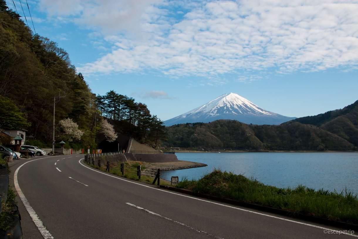 道と河口湖と富士山