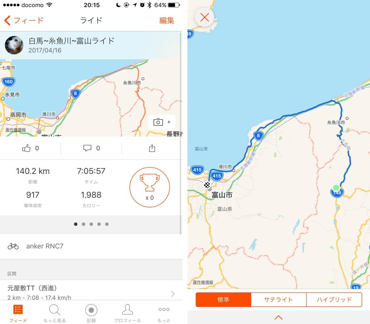 白馬村から富山駅までのライド記録
