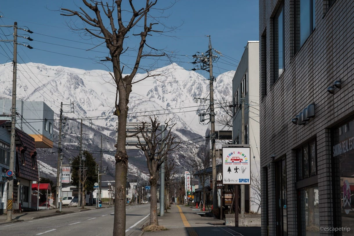 街中から見える北アルプス