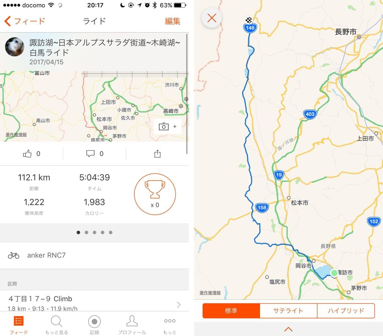 諏訪湖から白馬村までのライド記録