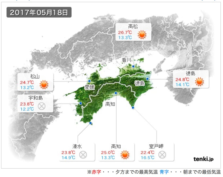 5月18日の四国地方の天気