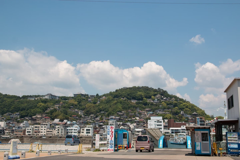 向島から見る尾道の町並み