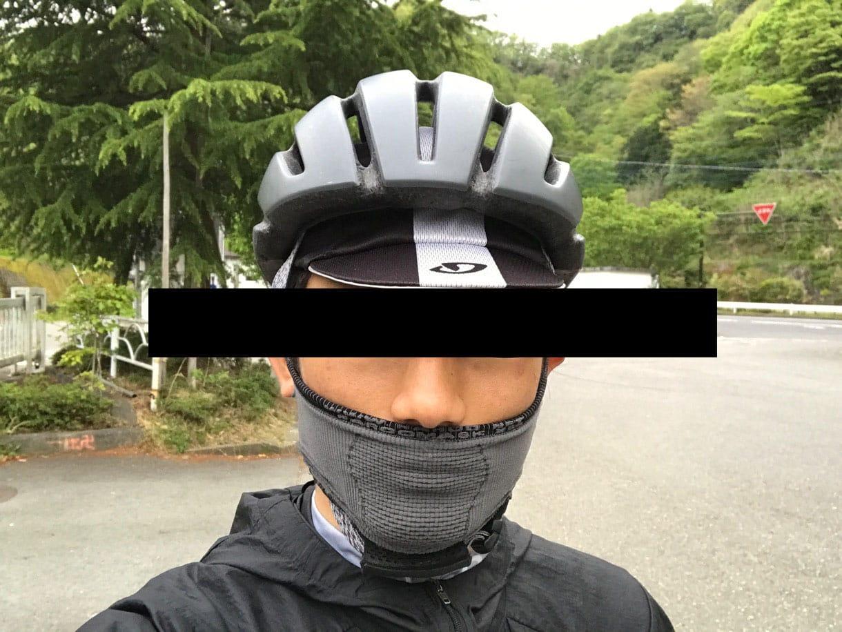 スポーツ用フェイスマスクを口元だけ着用
