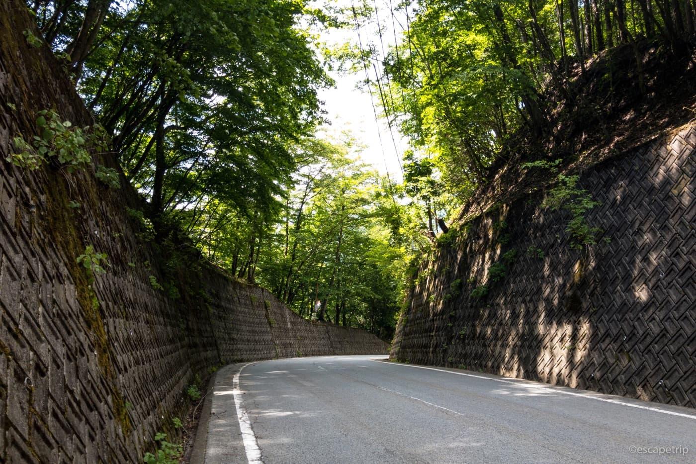 誰もいない山梨県の道路