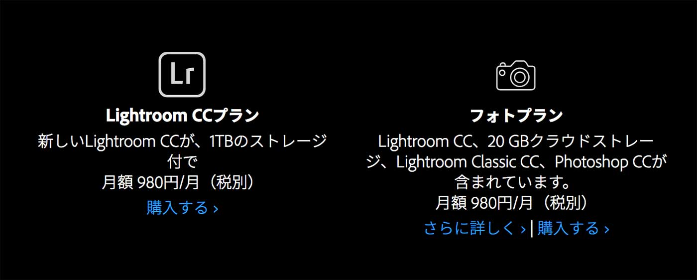 AdobeのLightroomプラン