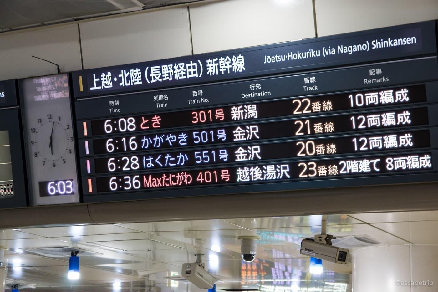 東京駅から始発の新幹線