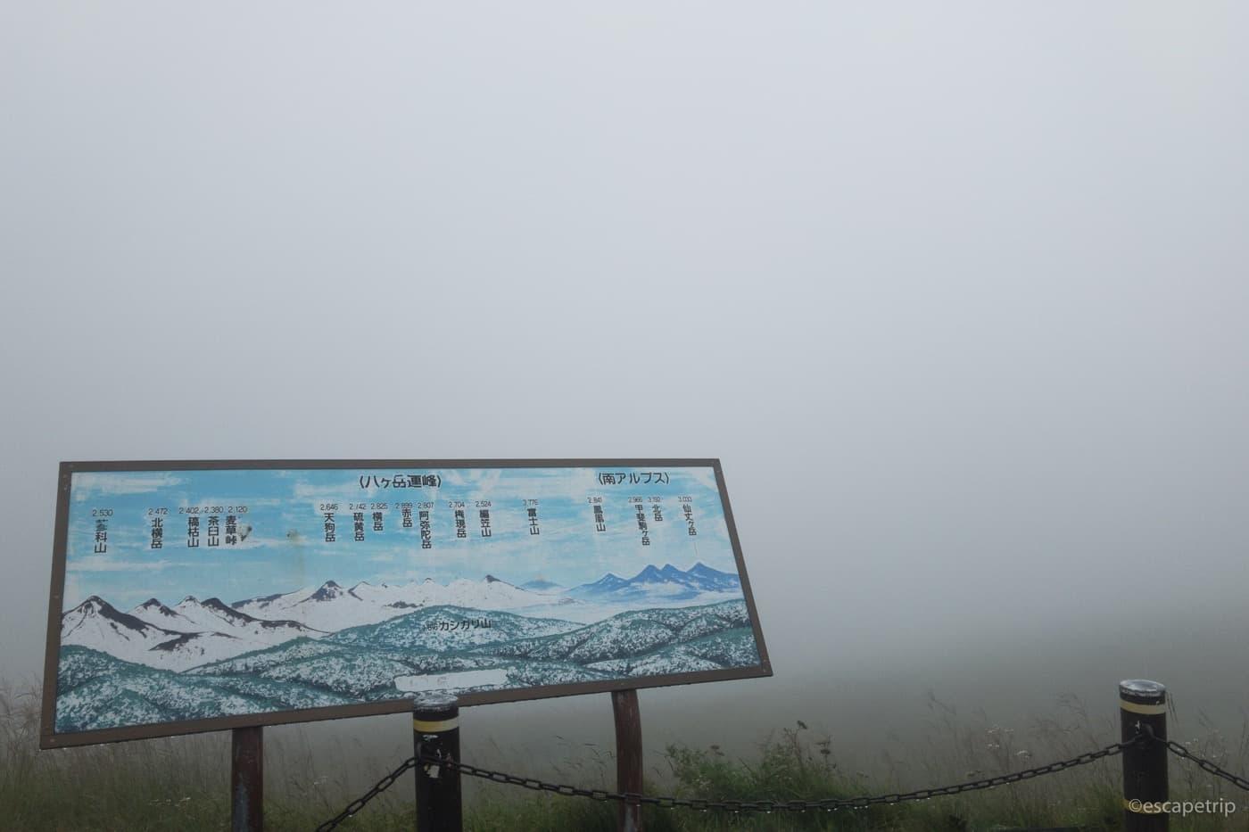アルプスの看板と濃い霧