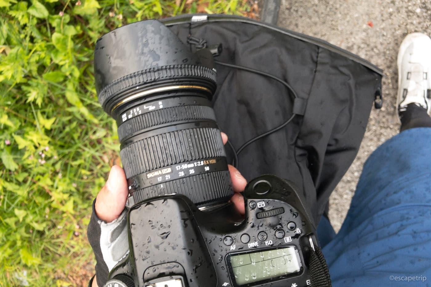 雨に濡れたカメラ
