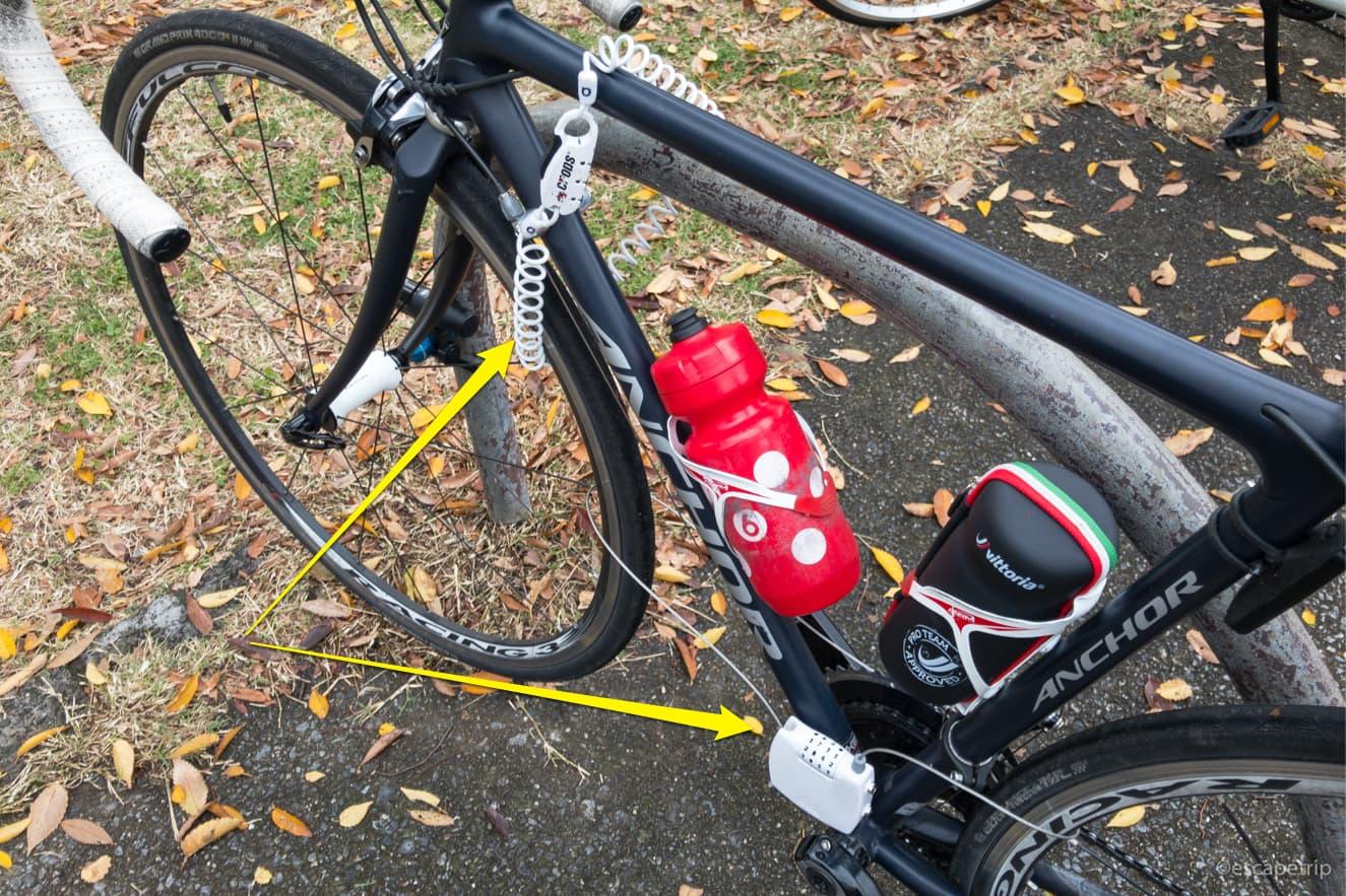 ダブルロックした自転車
