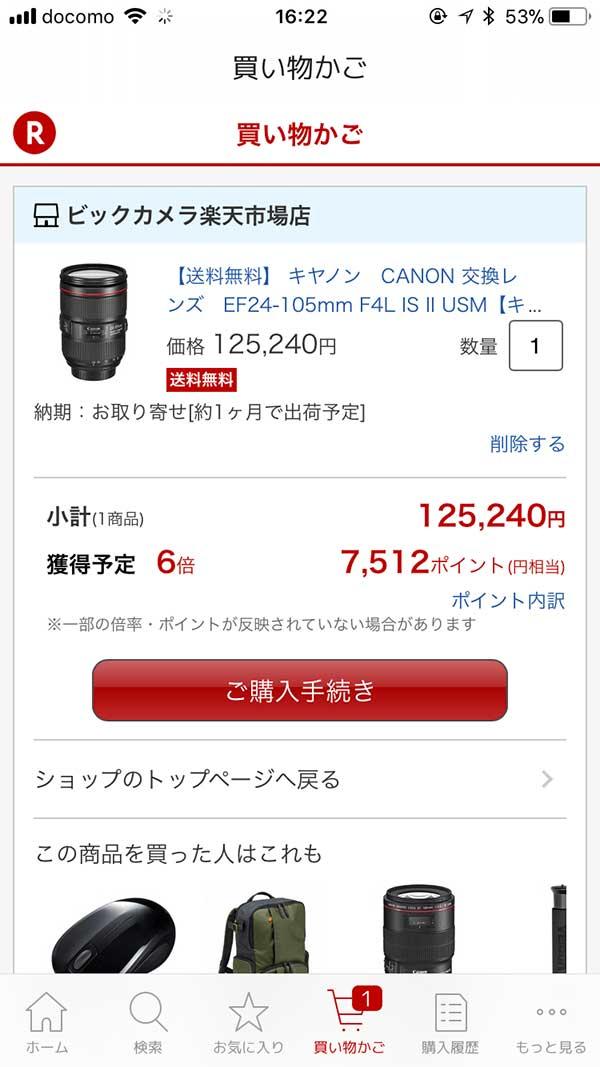 ビックカメラ楽天市場店で購入