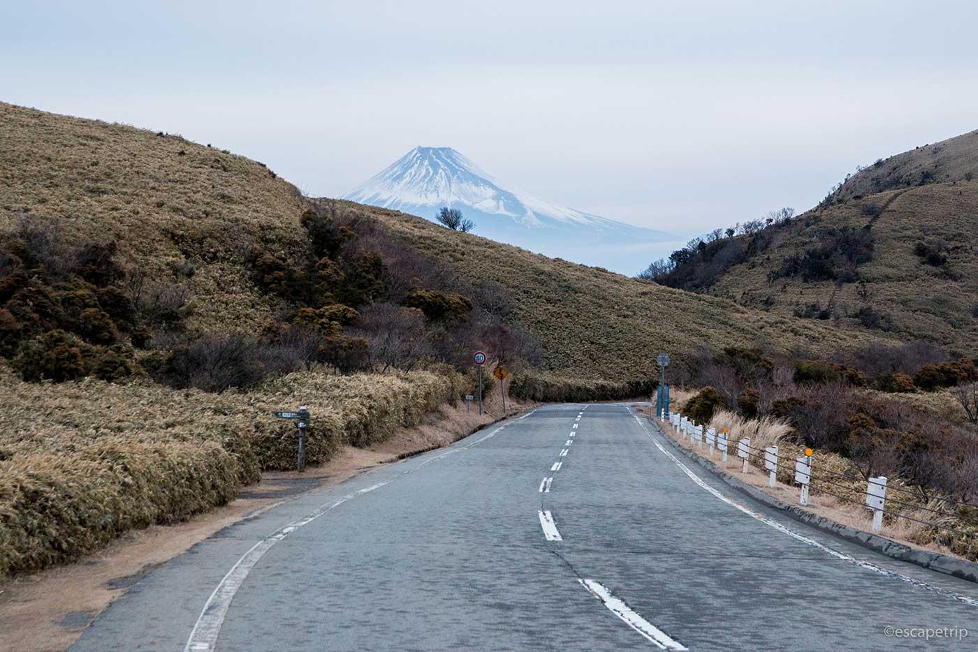 西伊豆スカイラインの道路と富士山