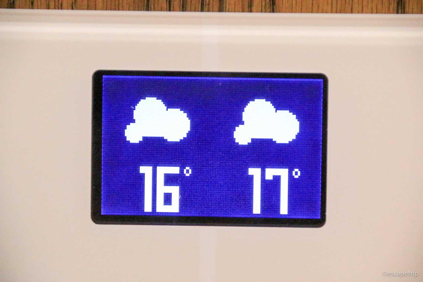 体重計に表示される天気予報