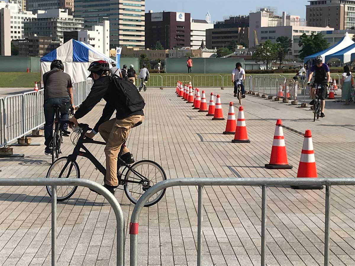 横浜サイクルスタイル2018の試乗の様子