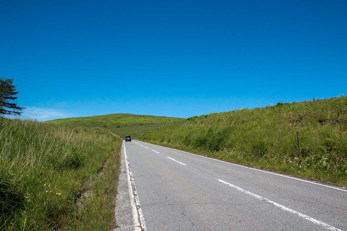 青空と草原と道