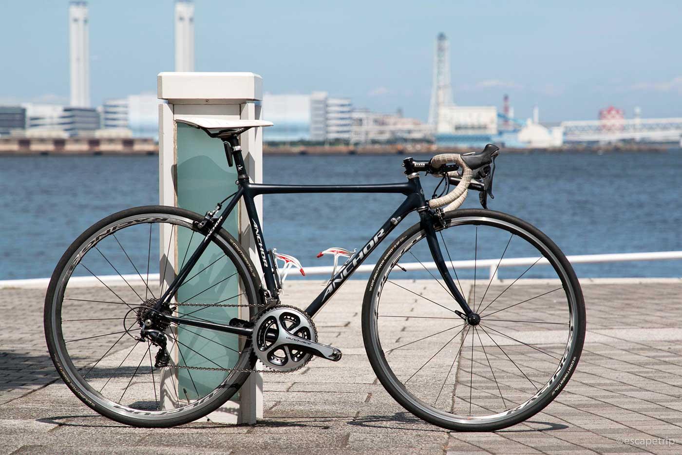 海辺とロードバイク