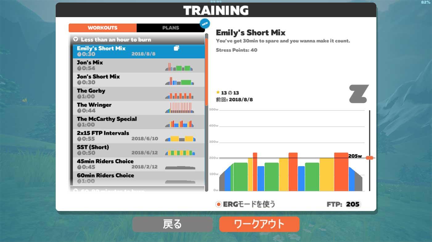 Zwiftのトレーニングメニュー