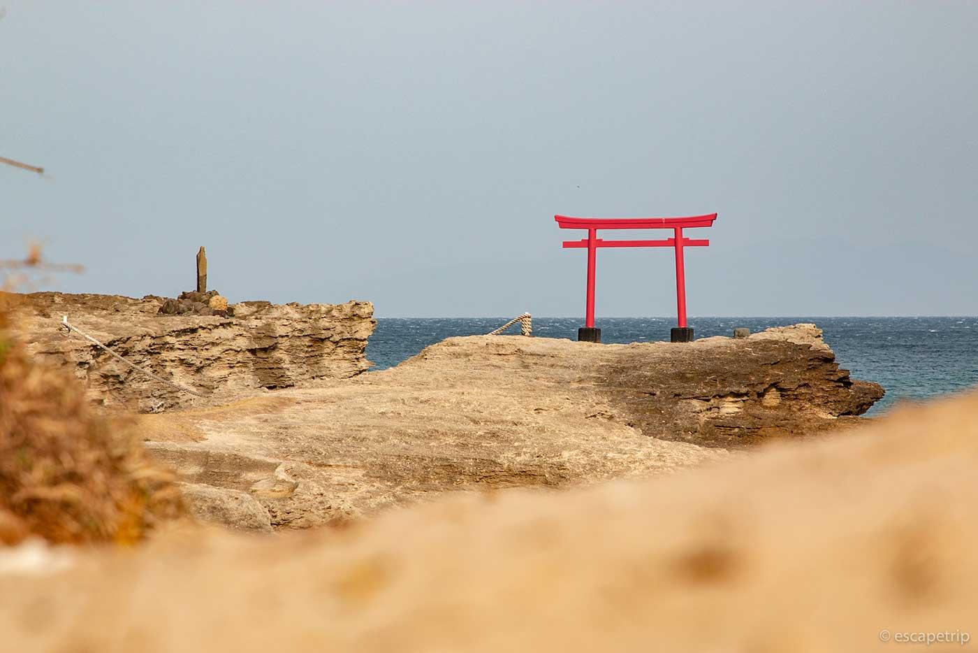 白浜神社の海岸の鳥居