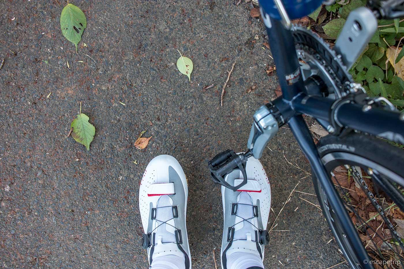ロードバイク用シューズとペダル