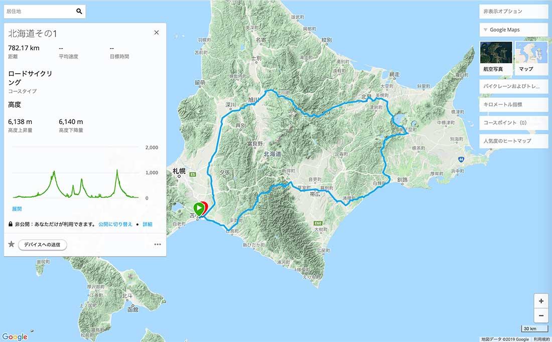 北海道のルート