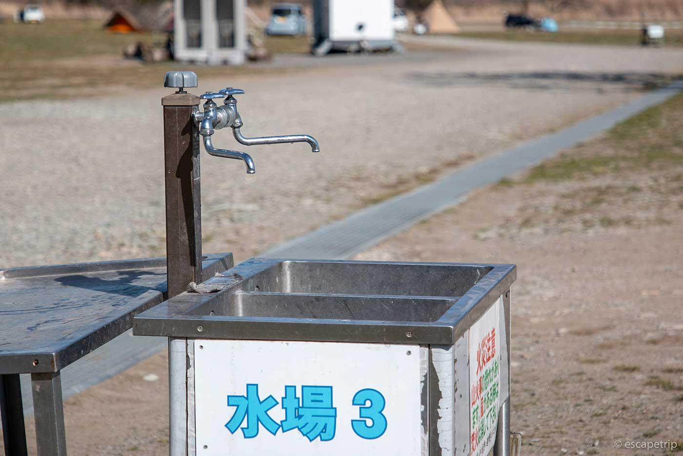ふもとっぱらキャンプ場の水場