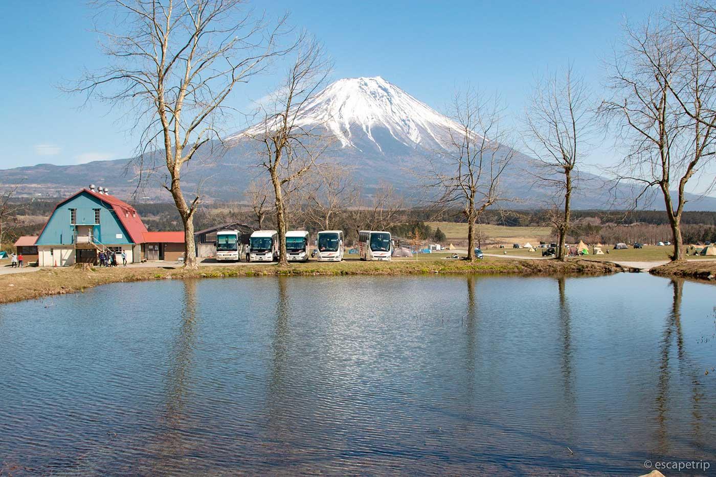 ふもとっぱらキャンプ場の逆さ富士ポイント