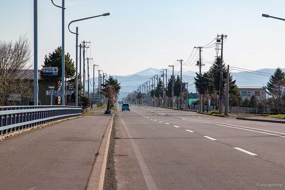 旭川の直線道路