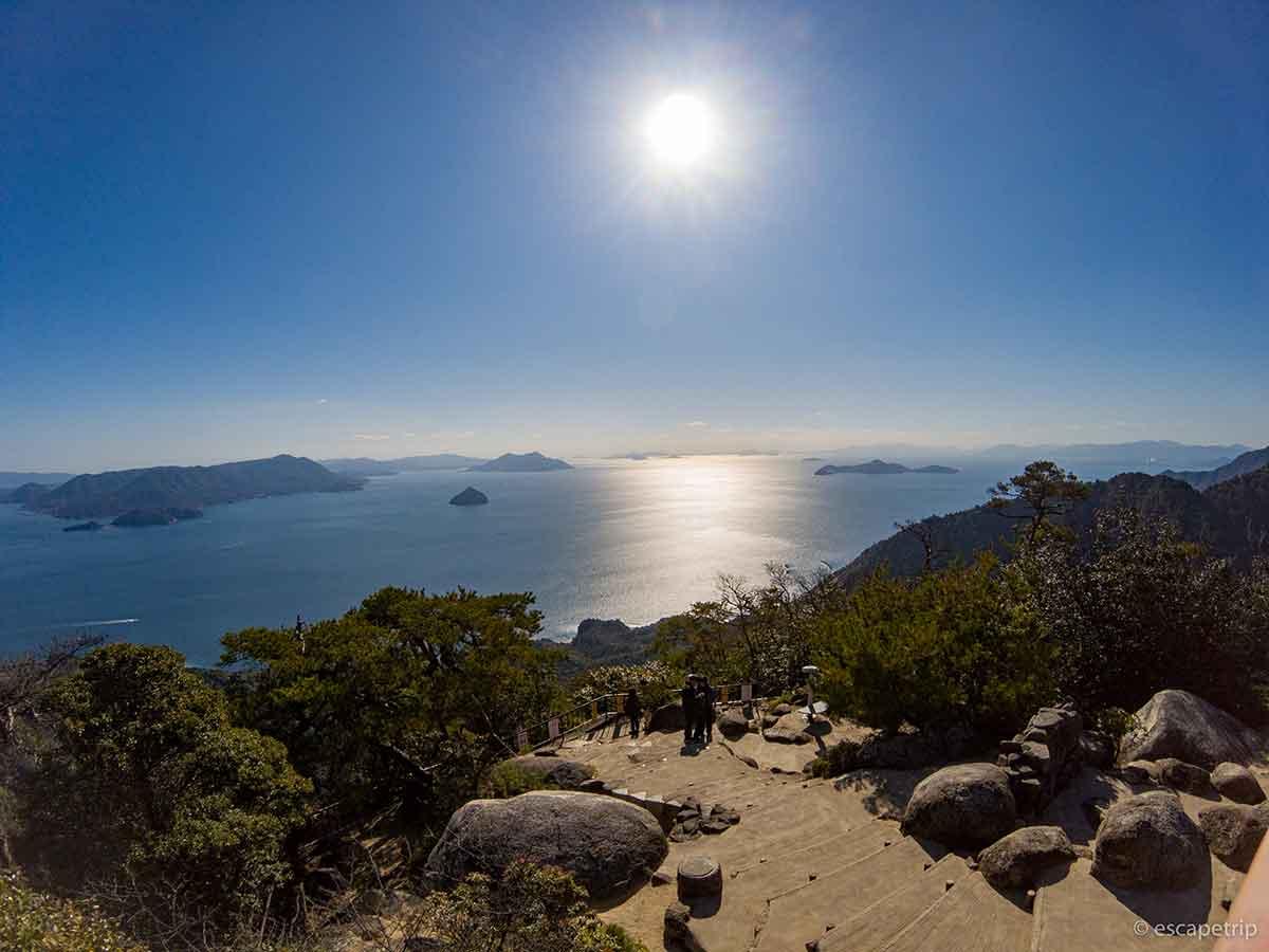 宮島のロープウェイの頂上
