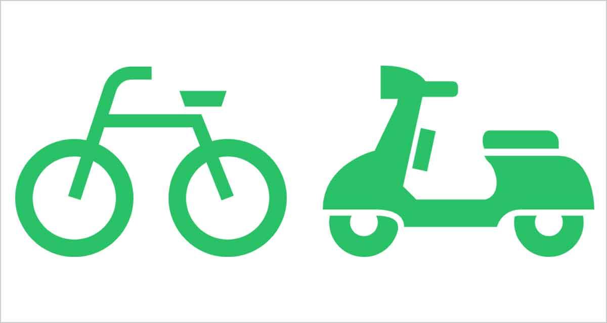 自転車と原付のアイコン