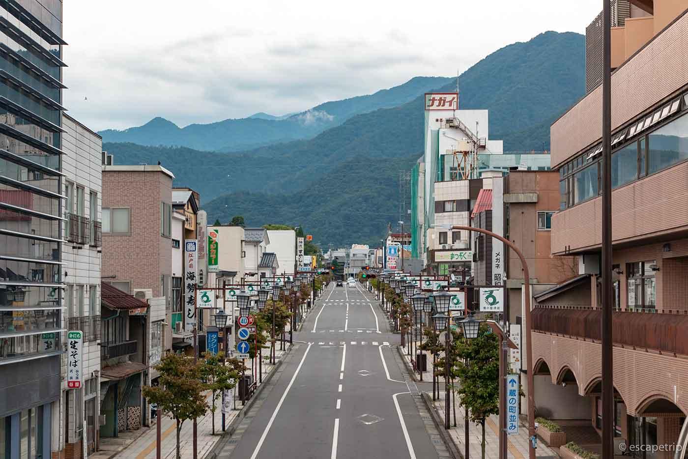 須坂駅からの風景