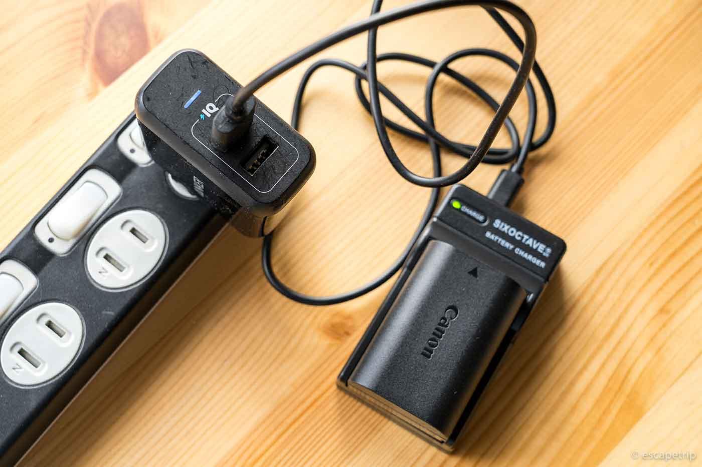 一眼レフ用の互換充電器USBチャージャーを使う