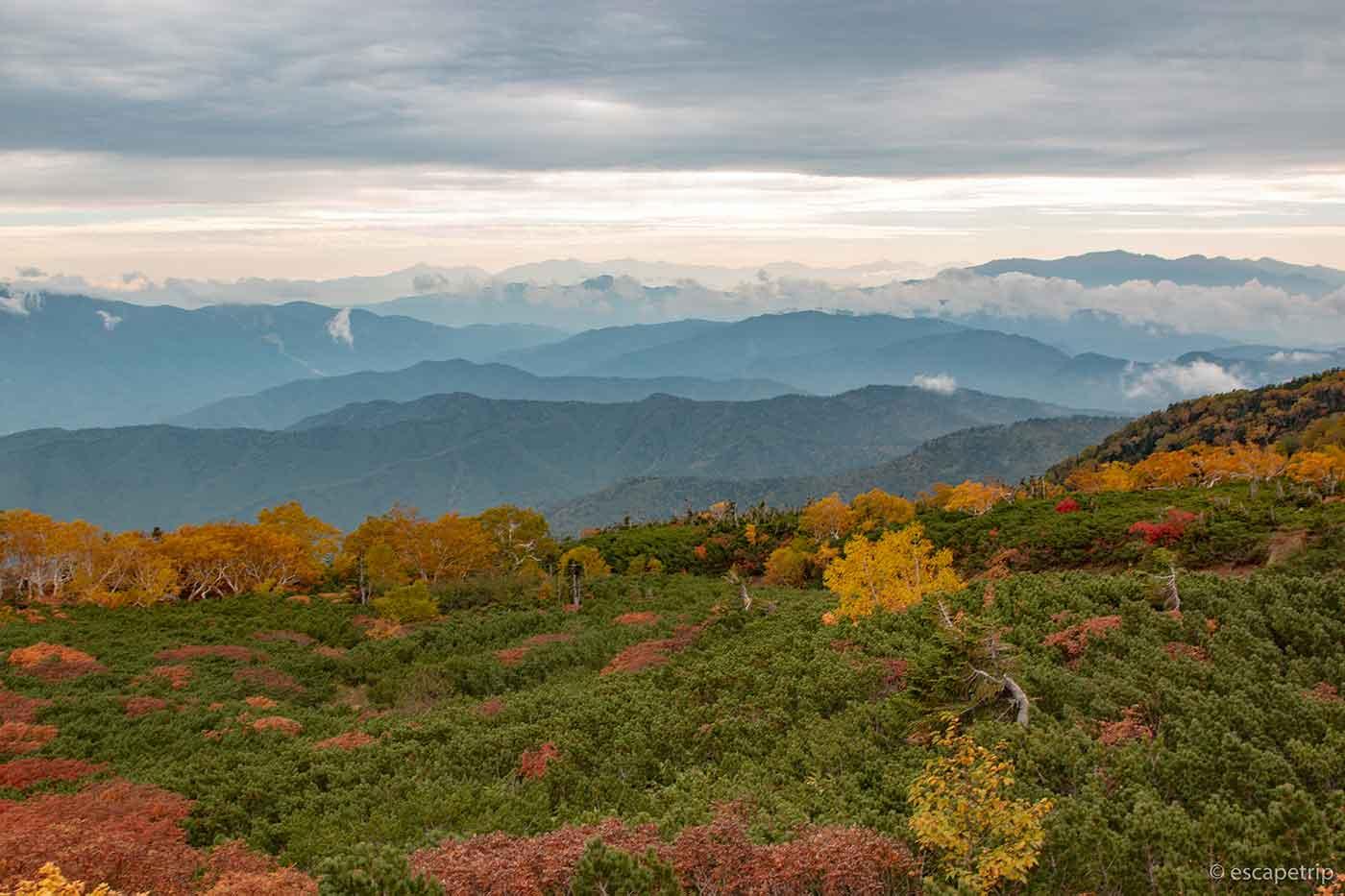 乗鞍の紅葉と山々