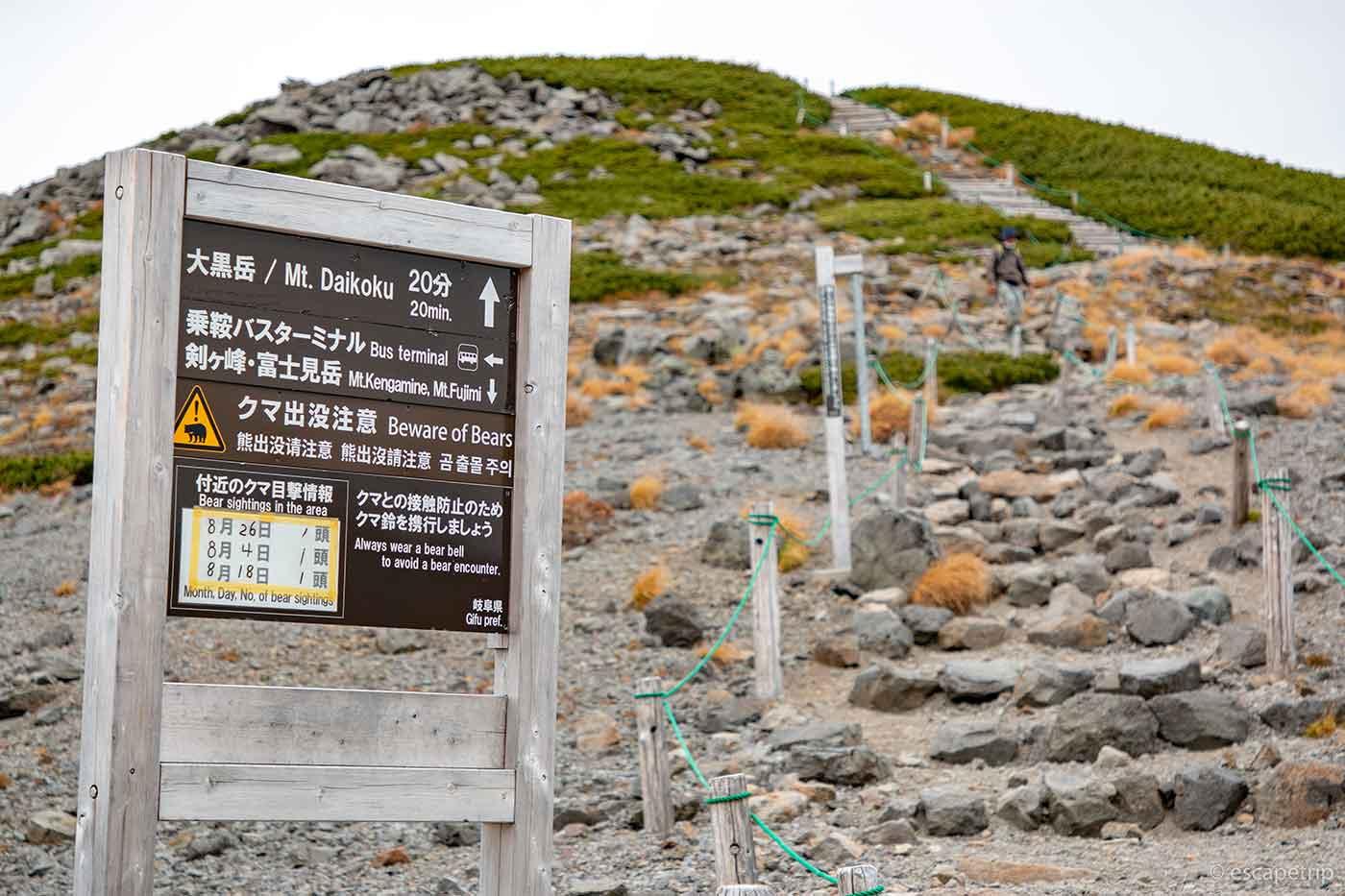 畳平から大黒岳に登る